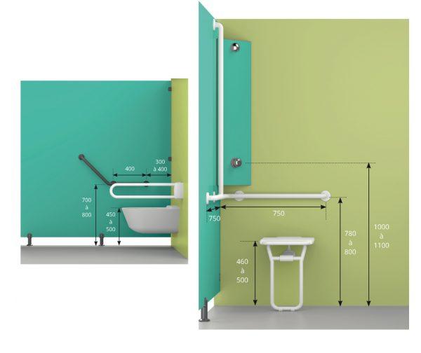 Cabine sanitaire PMR Kalysse adaptée aux personnes à mobilité réduite