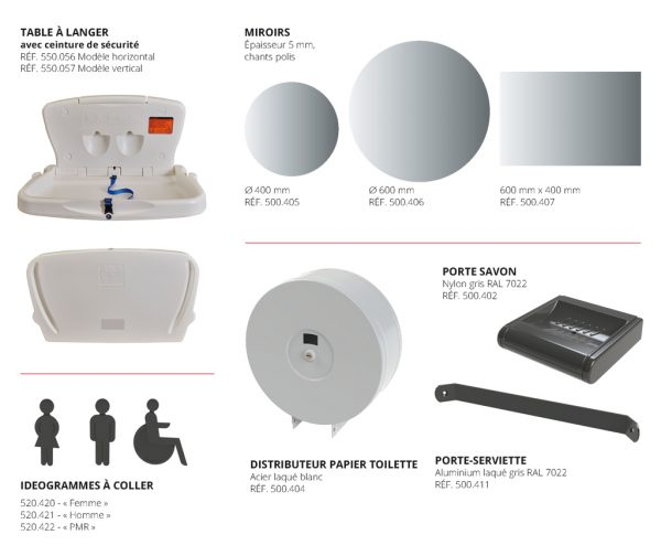 équipements et accessoires pour espaces sanitaires kalysse