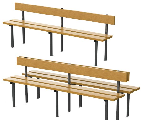 bancs avec dossier en bois