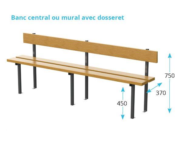 banc en bois avec dosseret