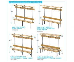 banc en bois avec dosseret, lisse patères et porte-paquets Kalysse