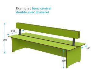 banc central double avec dosseret Kalysse