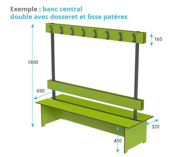 banc en stratifié compact avec dosseret et lisse patères