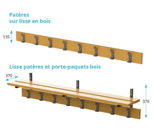 lisse patères et porte-paquets en bois