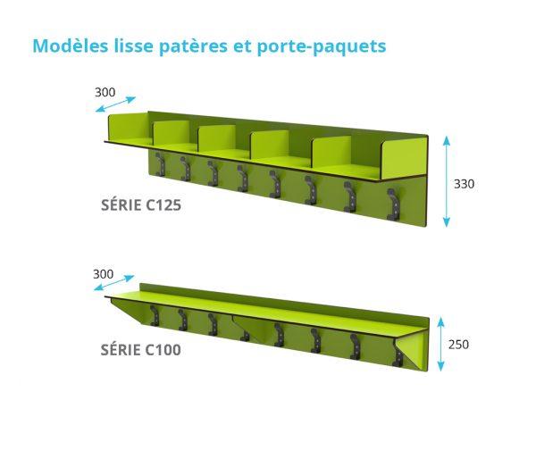 lisse patères et porte-paquets stratifié compact